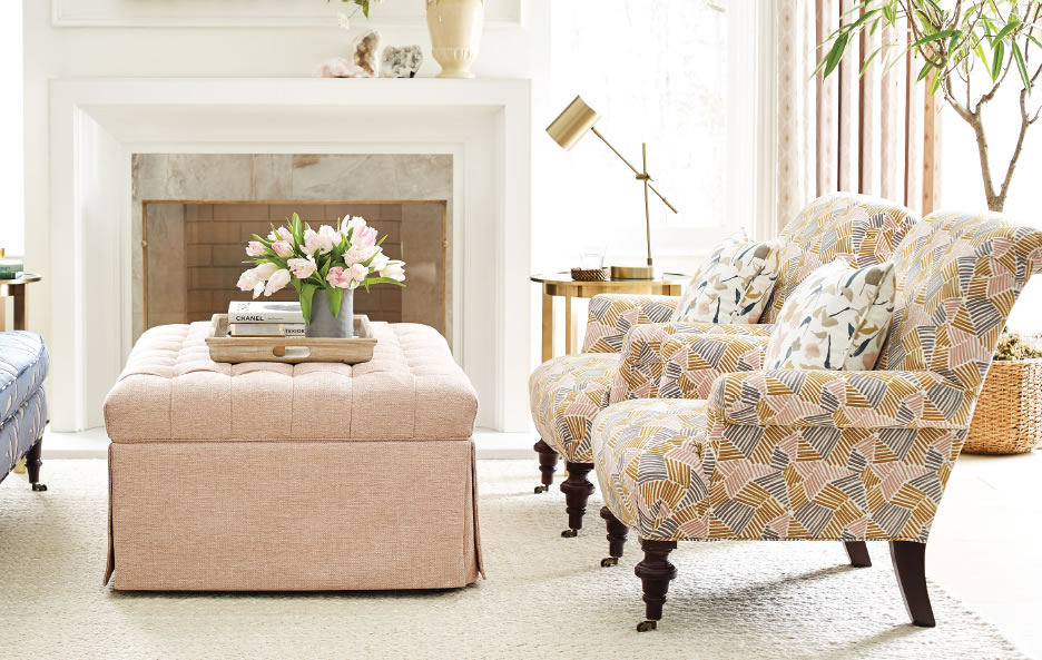 Custom chairs and ottoman made with the designer fabric collections at Calico
