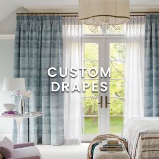 Custom drapes at Calico. Pleated drapes. Butterfly pleated. Pinch pleated drapes.