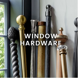 Decorative rods and window hardware at Calico.