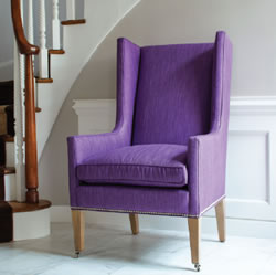 Custom upholstered purple Landon chair