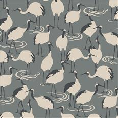DR6359 - Dwellstudio Wallpaper - Winter Cranes