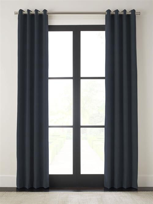 "Drapery 105""-Atq Brass Grommet-Emporio - Navy - Single Panel"
